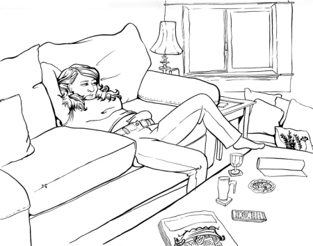 A recent drawing of my beautiful girlfriend Kellie relaxing on the couch.